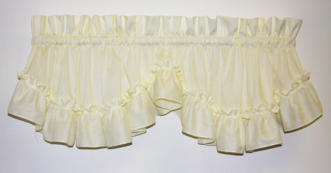 Stephanie Solid Color Country Ruffled Shaped Valance Window Curtain