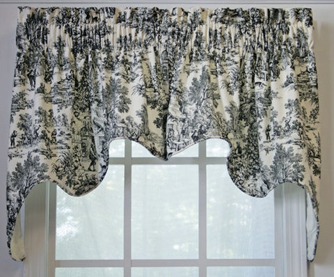 Victoria Park Toile Print Lined Empress Swags Valance Window Curtain