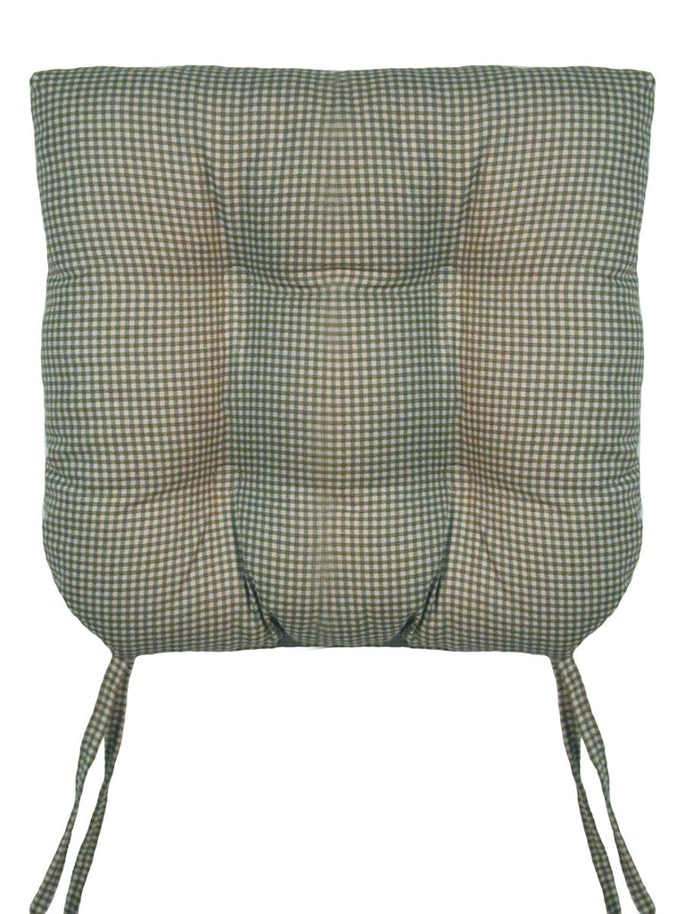 Logan Country Gingham Print Chair Cushion With Ties