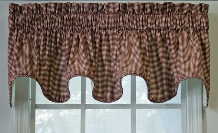Logan Country Gingham Print Lined Scallop Valance Window Curtain