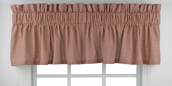 Logan Country Gingham Print Tailored Valance Window Curtain