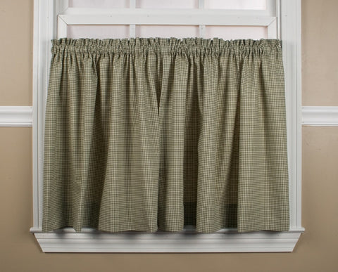 Logan Country Gingham Print Tailored Tiers Window Curtains