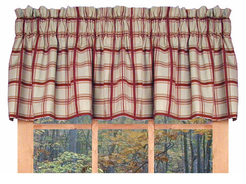 Logan Plaid Print Tailored Valance Window Curtain