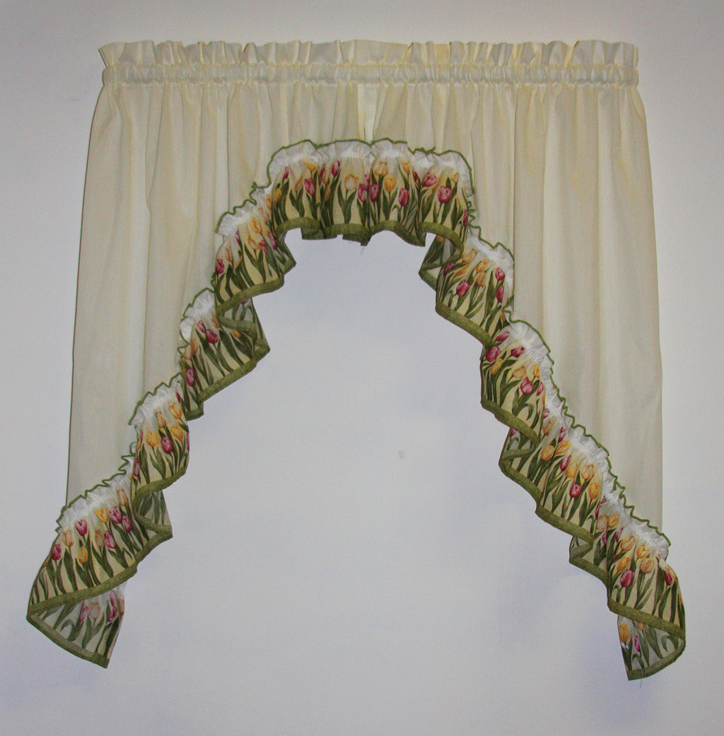 Tulip Time Ruffled Swags Window Curtains Pair