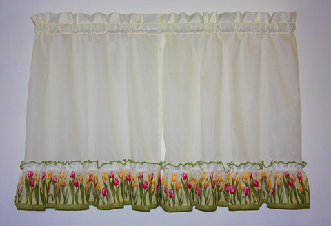 Tulip Time Ruffled Tiers Window Curtains