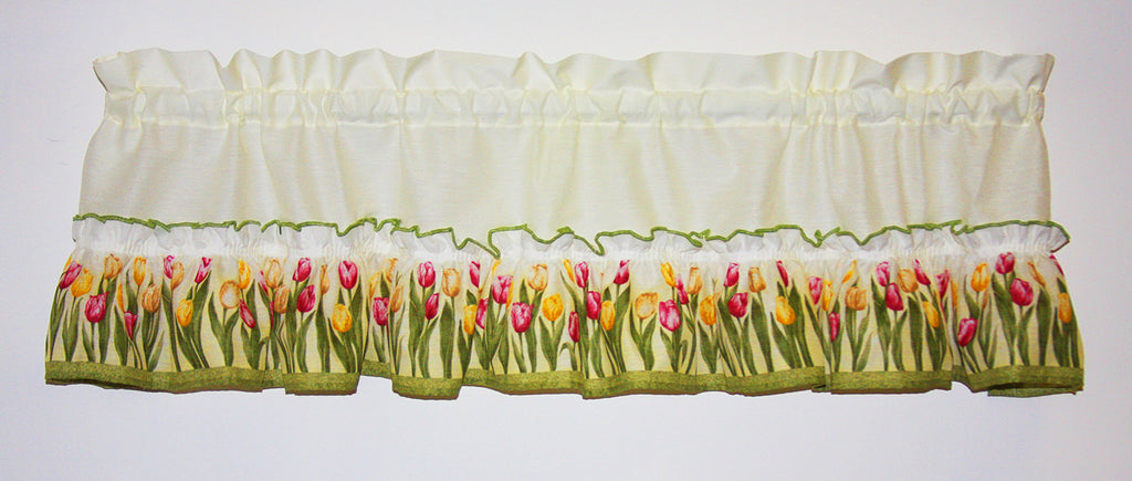 Tulip Time Ruffled Valance Window Curtain