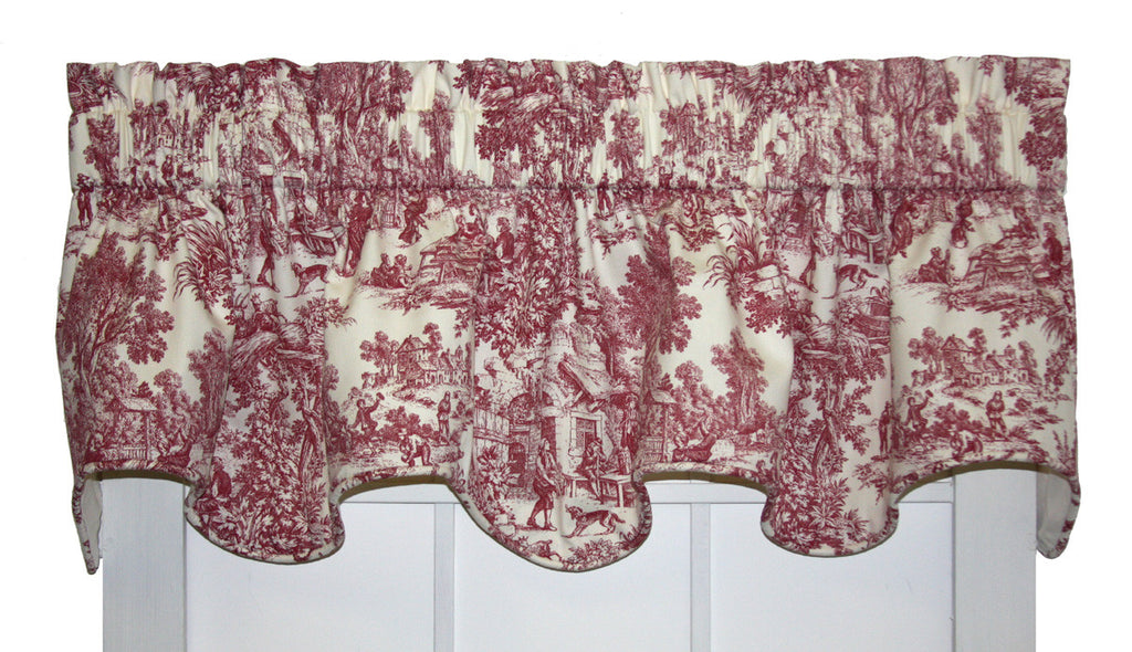 Victoria Park Toile Print Lined Empress Swags Valance Window Curtain ...