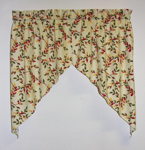 Vintage Vine Print Tailored Swags Window Curtains Pair