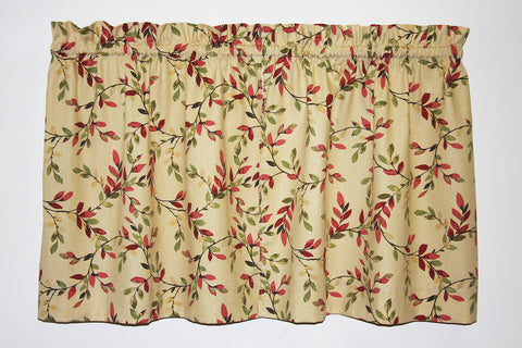 Vintage Vine Tailored Tiers Curtains - Moss Green