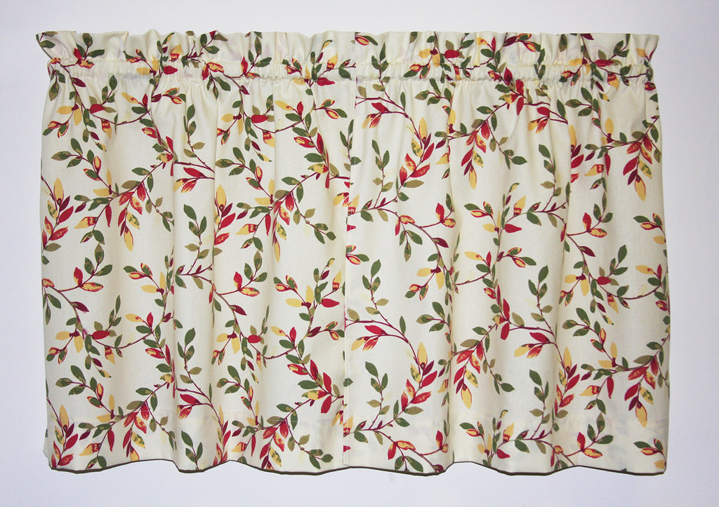 Vintage Vine Tailored Tiers Curtains - Red