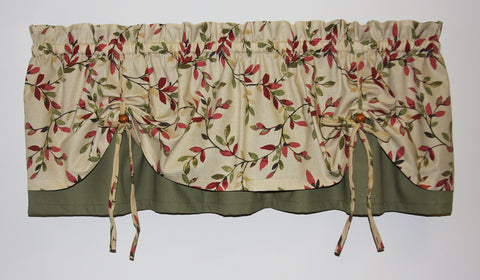 tie up window valance kitchen curtains vintage vine print versa tie valance window curtain up valances curtains toppers