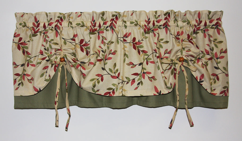 vintage vine print tailored tiers window curtains window toppers