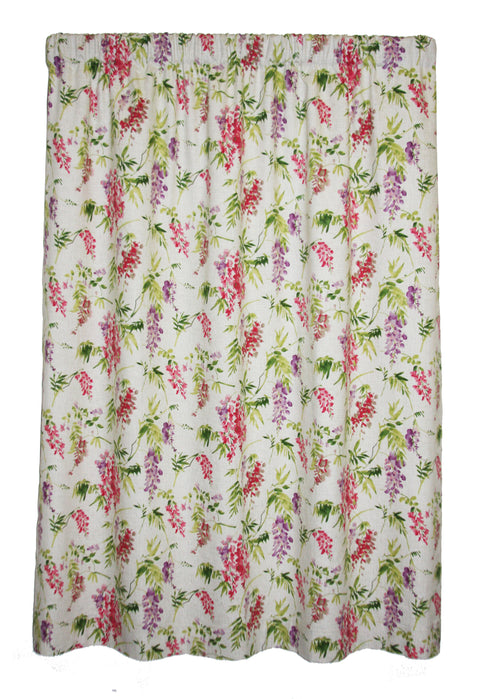 Wisteria 100% Cotton Floral Lined Panel Window Curtain