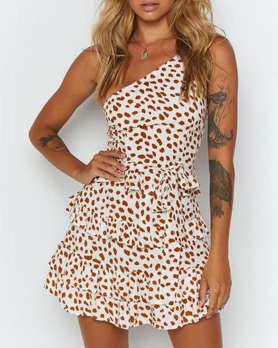 Sexy Leopard One Shoulder Dress