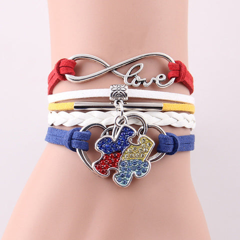 Infinity Love Hope Autism Awareness Bracelet Rhinestone Charm bracelet - Love Accessorized