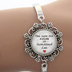 The cure for Autism is unconditional Love Glass Dome Charm Bracelet - Love Accessorized
