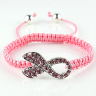 Strand Pink Crystal Ribbon Bowknot Bangle Fashion Beads Breast Cancer Awareness Knitted Adjustable Bracelet Hand Weave Bracelet - Love Accessorized