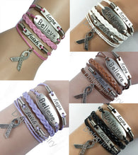 hope,faith,believe Pink Ribbon Breast Cancer Awareness Bracelets - Love Accessorized