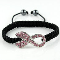 Adjustable woven Pink Crystal Breast Cancer Awareness Bracelet - Love Accessorized