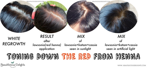 Tone down the red from henna with Indigo, Amla, Katam or Walnut powder