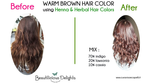 WARM BROWN HAIR COLOR using Henna & Herbal Hair Colors