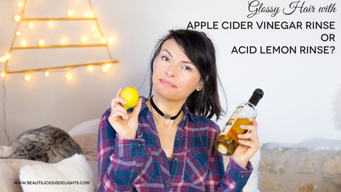 glossy hair with apple cider vinegar rinse or acid lemon rinse