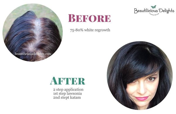 henna white regrowth black hair