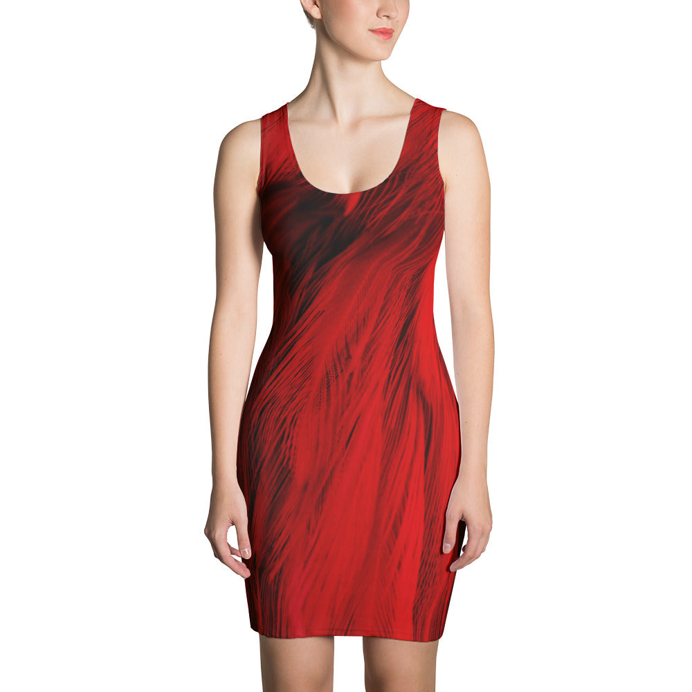 Red Feather  Cut & Sew Dress