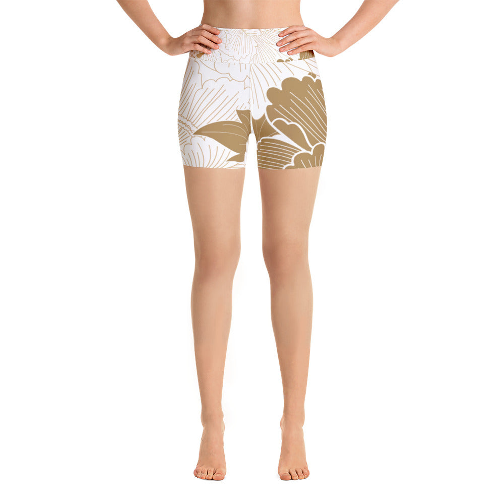 Golden Flower Yoga Shorts