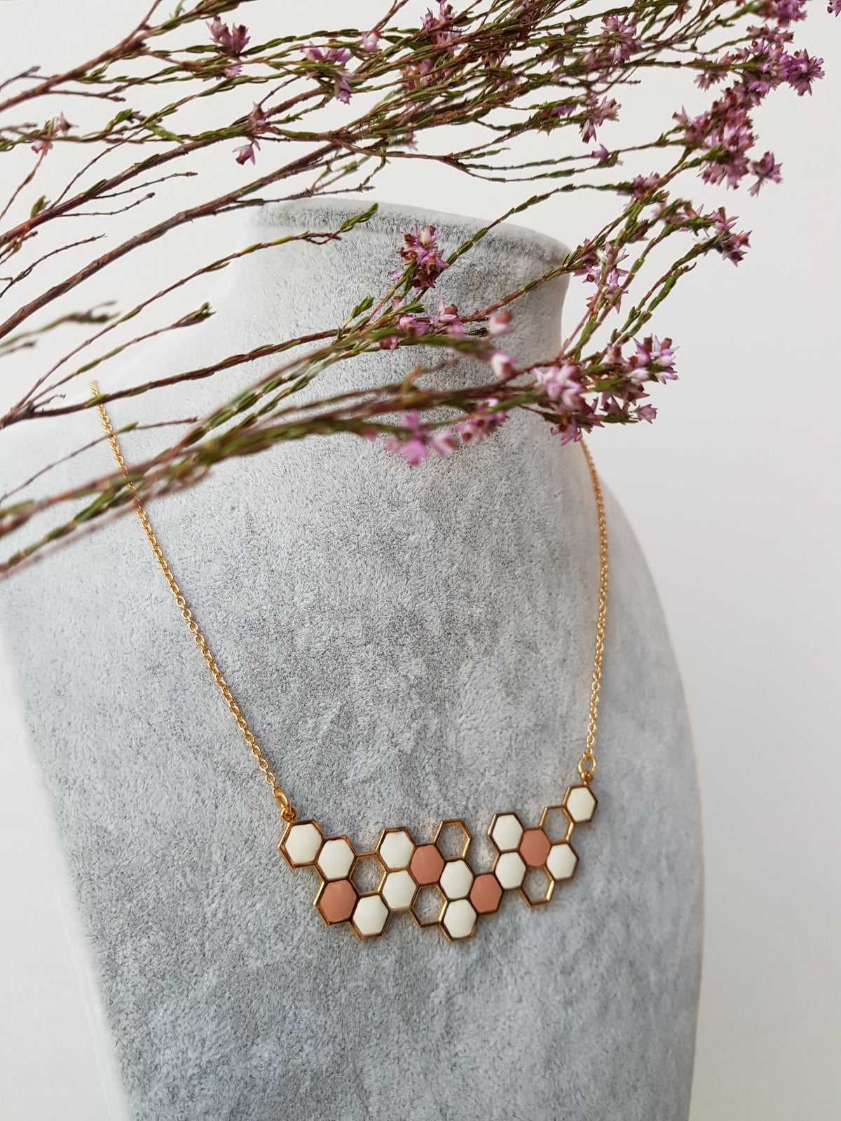 (Restocked) Honey Comb Brass Necklace with 18K Gold Plating (Pink & White)