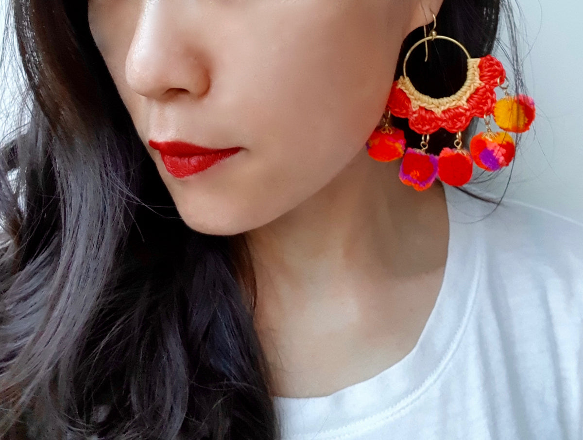 Marni Crochet Pom Pom Earrings