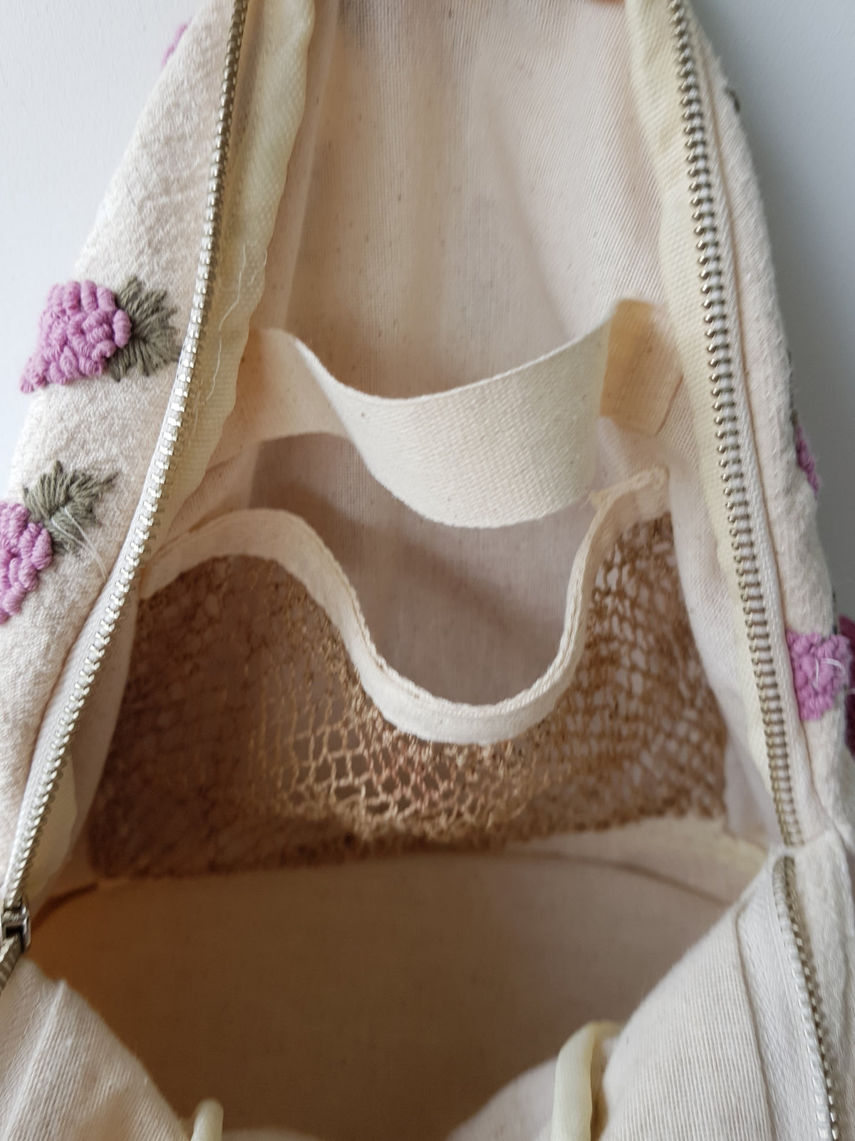Nami Hand Embroidered Bagpack (White fabric w Purple stitches)