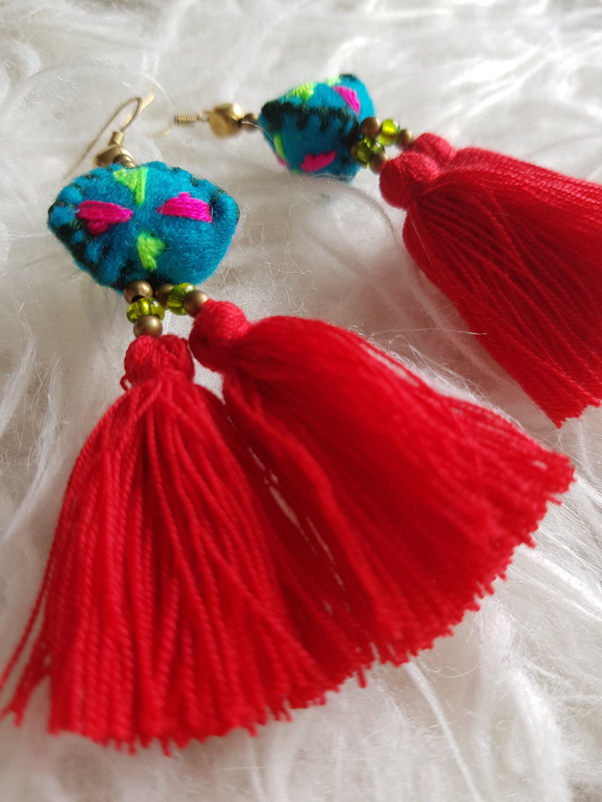 Tira Embroidered Earrings (Red Tassels with Blue Felt)