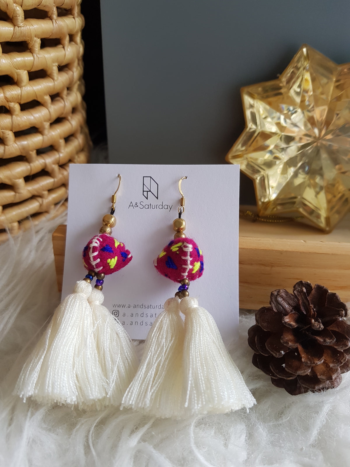 Tira Embroidered Earrings (White Tassels with Pink Felt)