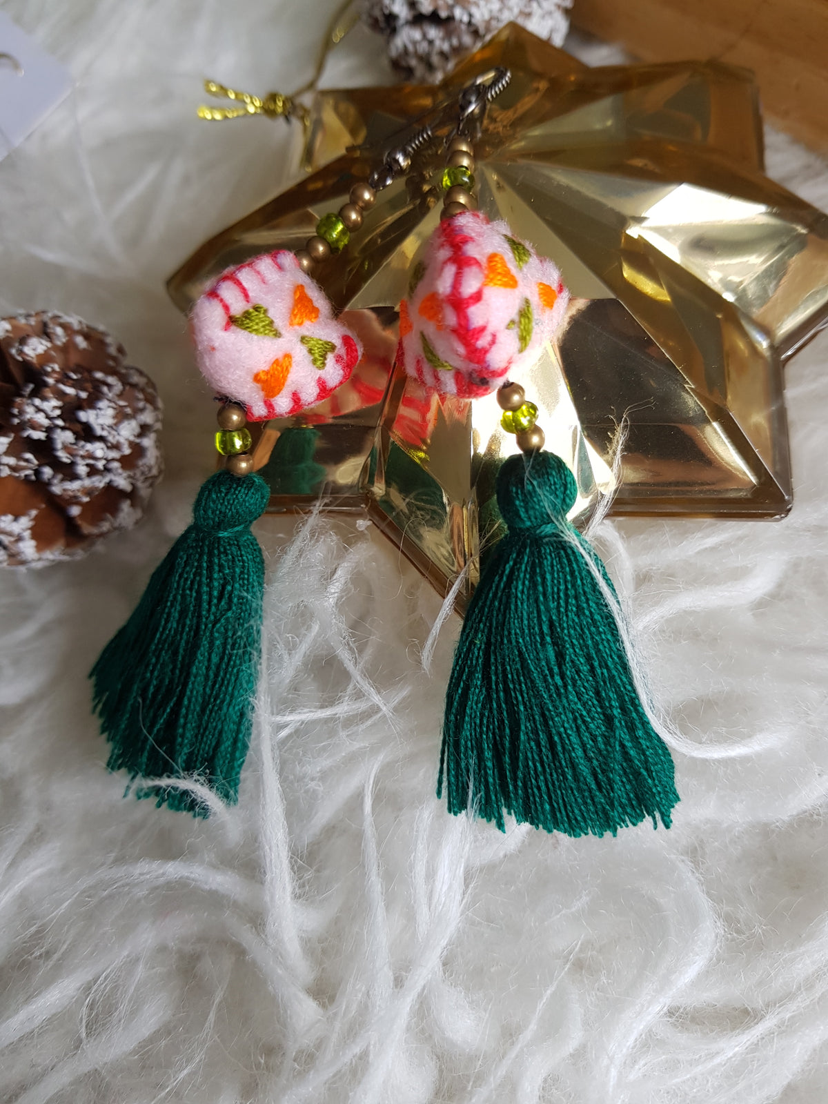 Tira Embroidered Earrings (Pink Felt with Green Tassel)