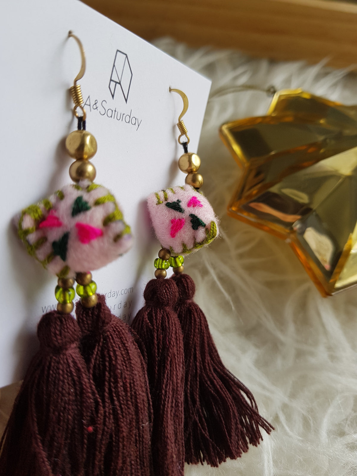 Tira Embroidered Earring (Pink Felt With Double Brown Tassel)
