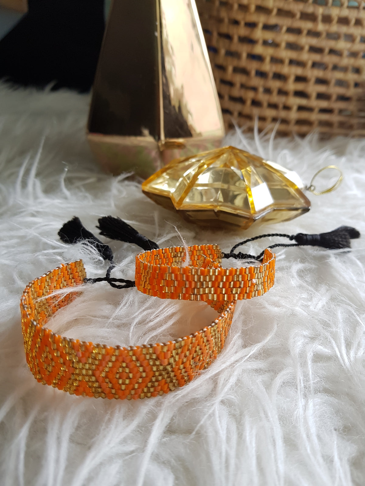 Finn Beaded Bracelet with Tassels (Orange&Gold-Small)