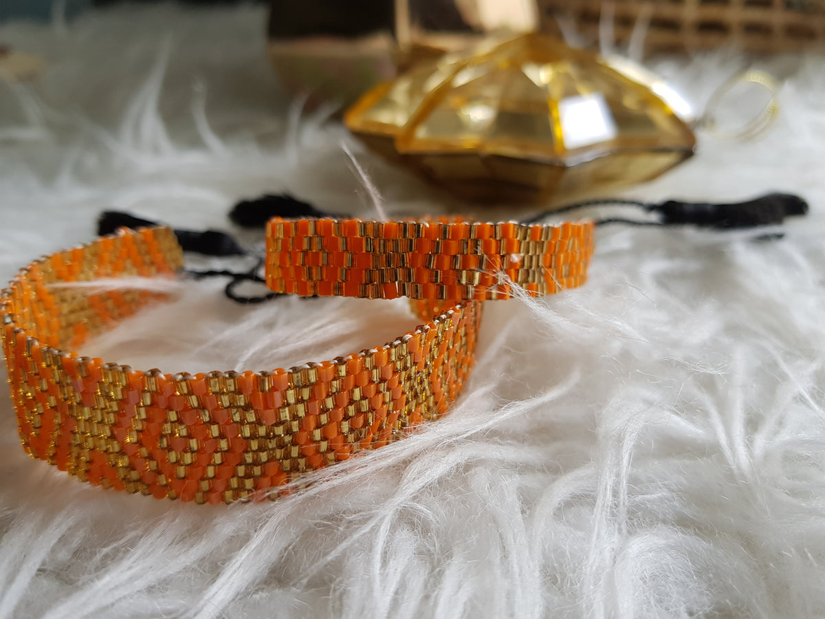 Finn Beaded Bracelet With Tassels (Orange&Gold-Large)