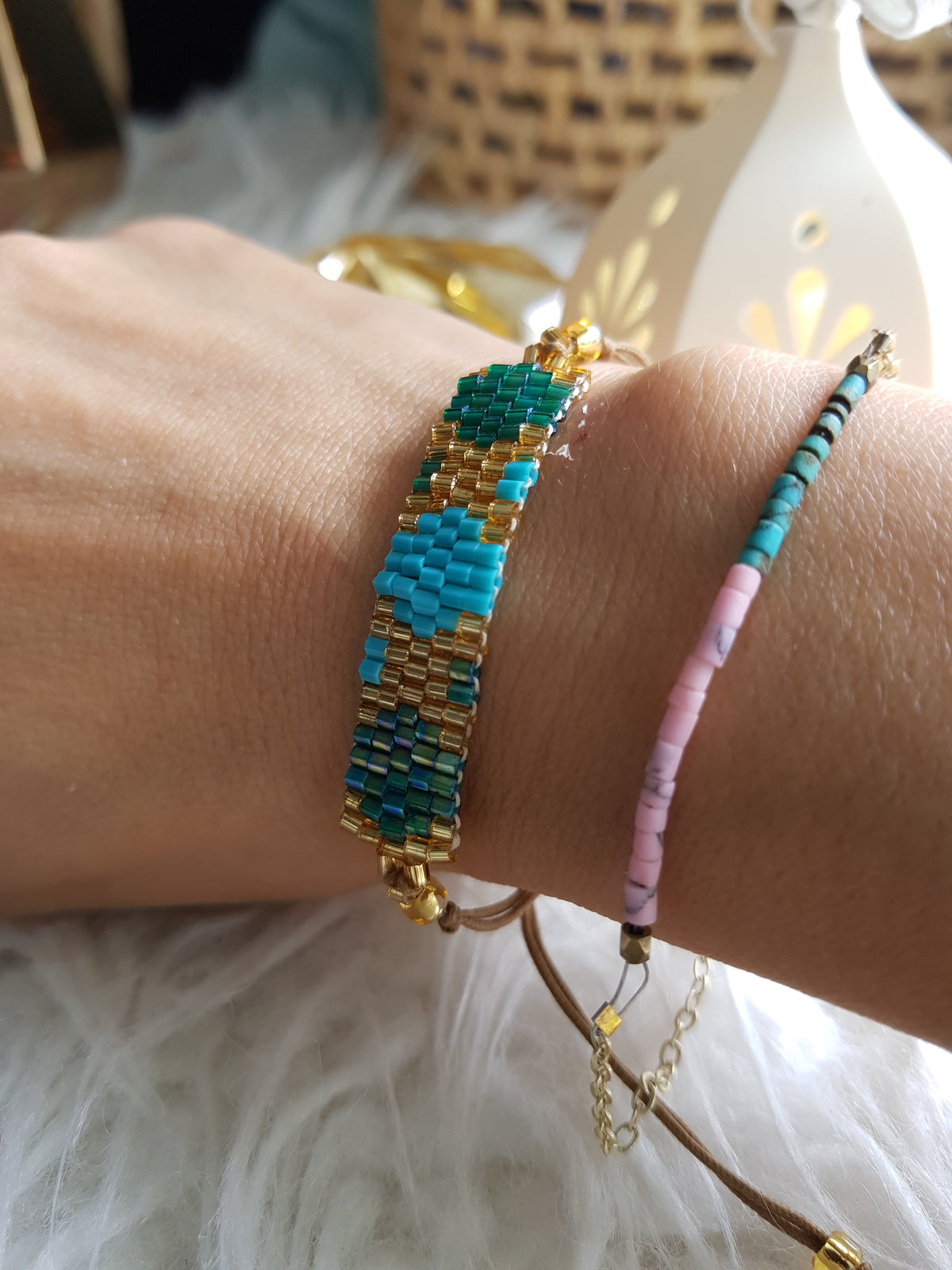 Finn Beaded Bracelet (Colour Combi:Blue, green, Gold)