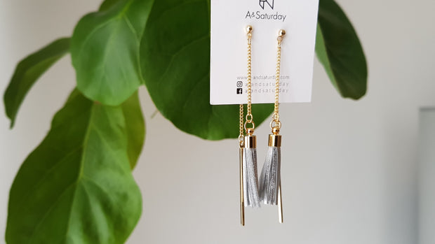 Mille Silver Tassel Earrings