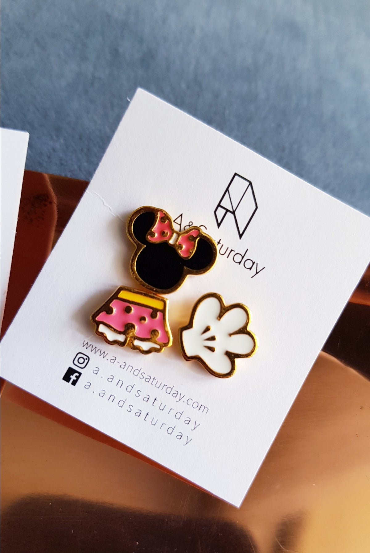 Minnie Mouse Mismatch Stud Earrings (Set of 3)