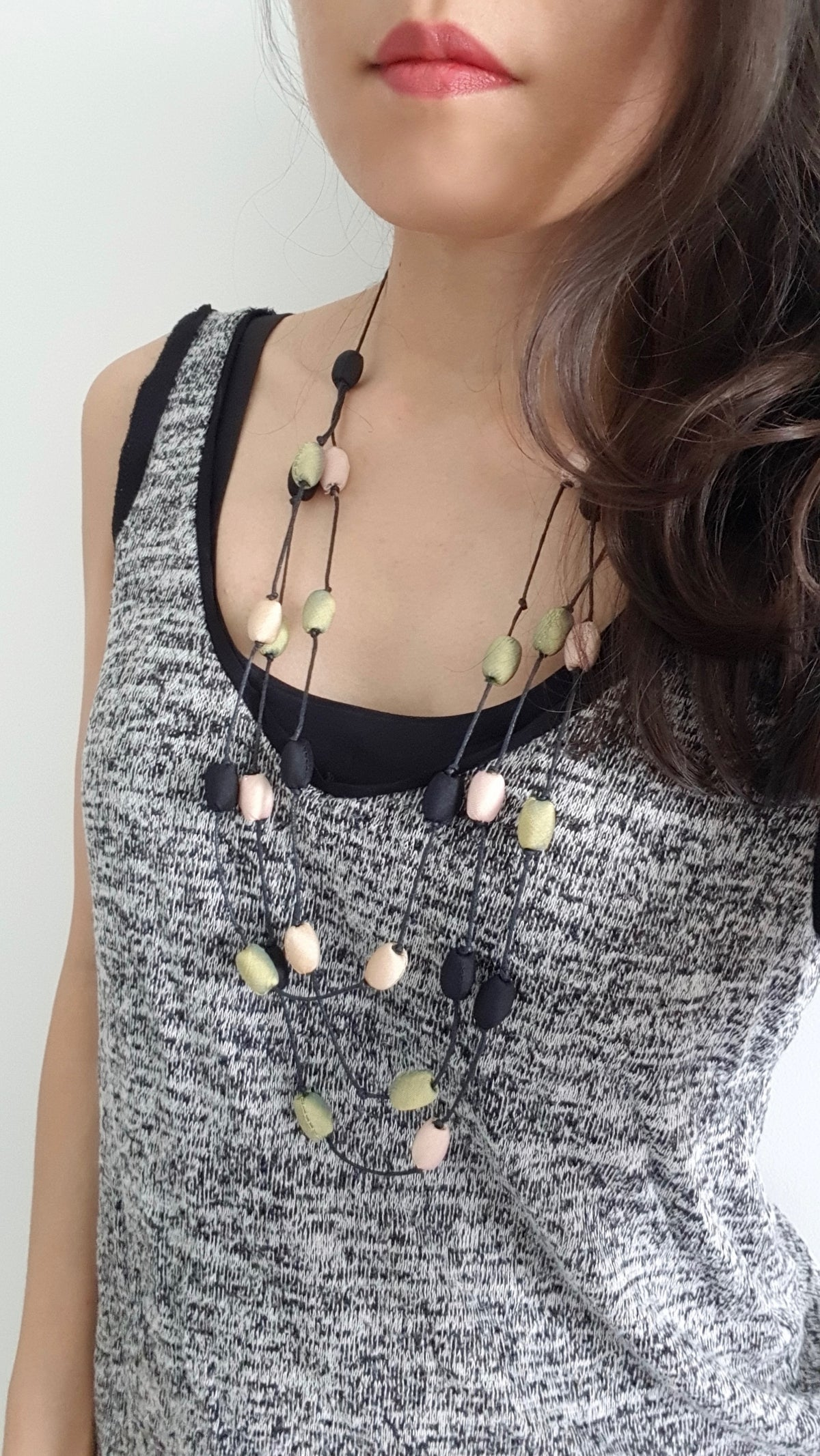 Leela Silk Necklace- Green+Light Brown+Black (3 layered)