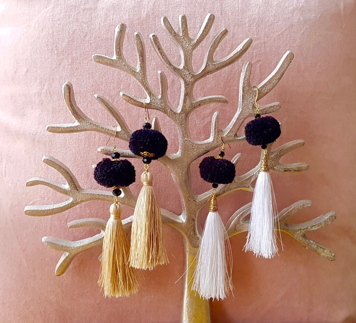 Artini Earrings (White Tassel+Black Pom Pom 20% OFF)