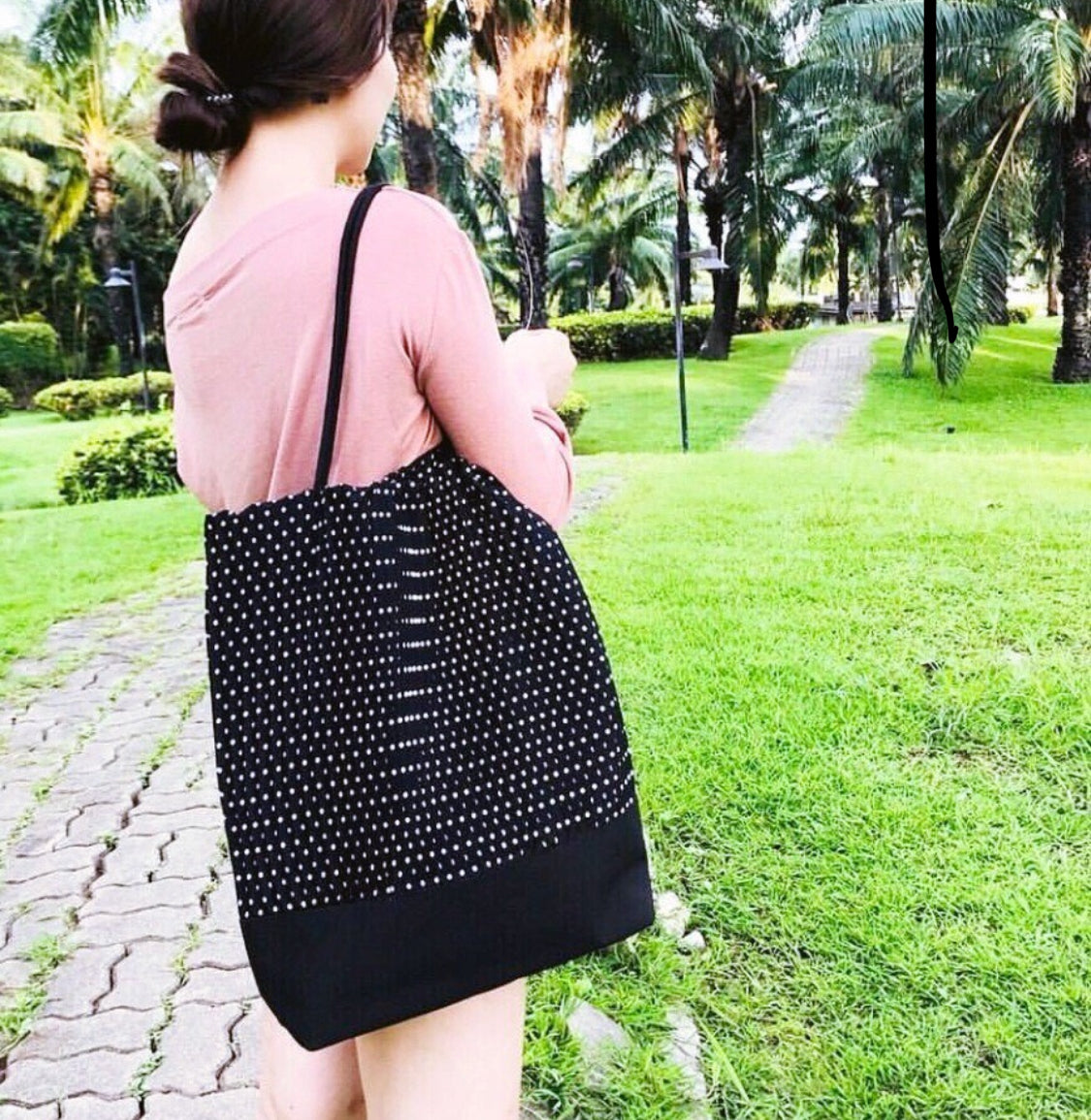 Sofia Pleated Bag (Black+White Polka Dots)