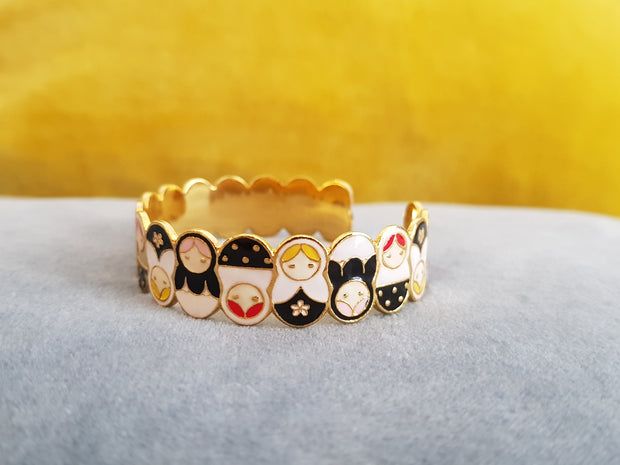 Yolanda Russian Dolls Cuff (Black + White)
