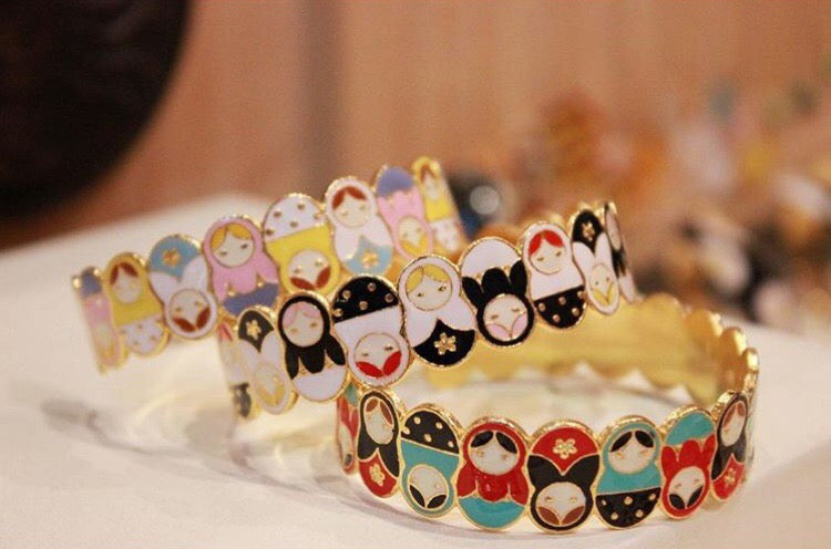 Yolanda Russian Dolls Cuff (Yellow+Pink+White)
