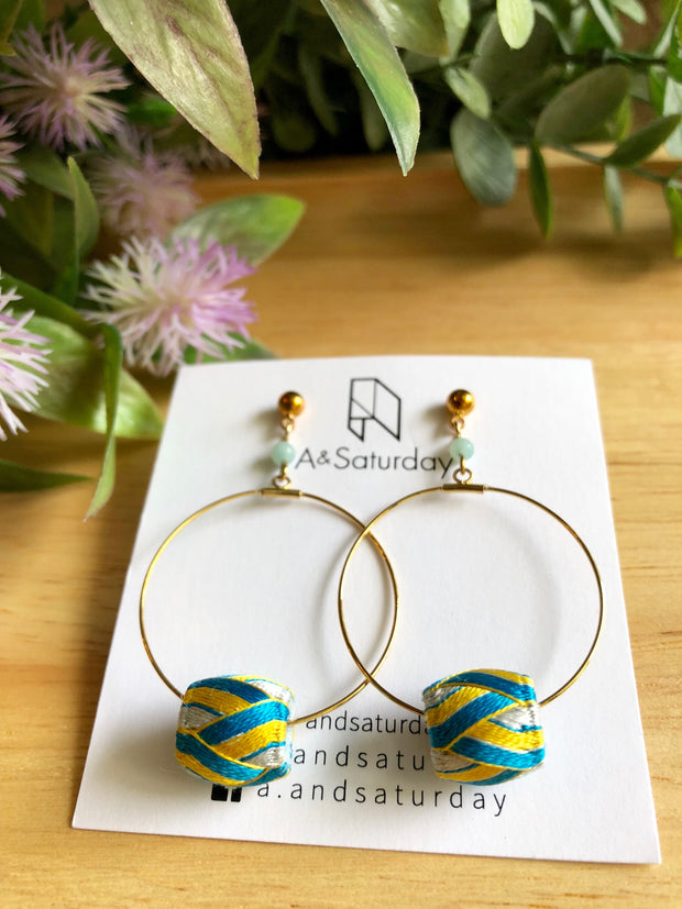 Edo Earrings Collection (Hoop with Blue+Yellow Silk Thimbles) - 10% off