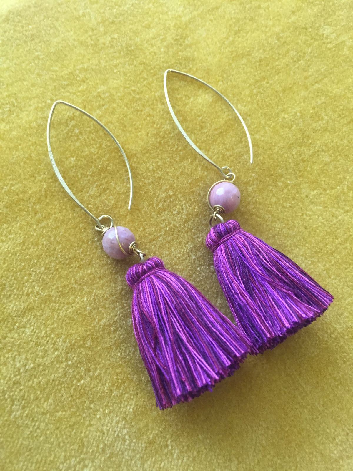 Naris Tassel Earrings (purple with pink stone)