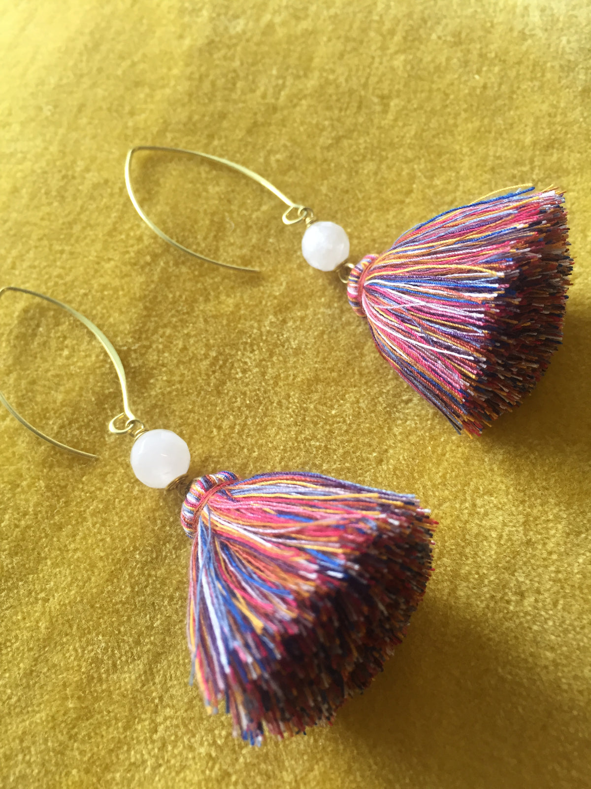 Naris Tassels Earrings (Mixed colour with white stone)