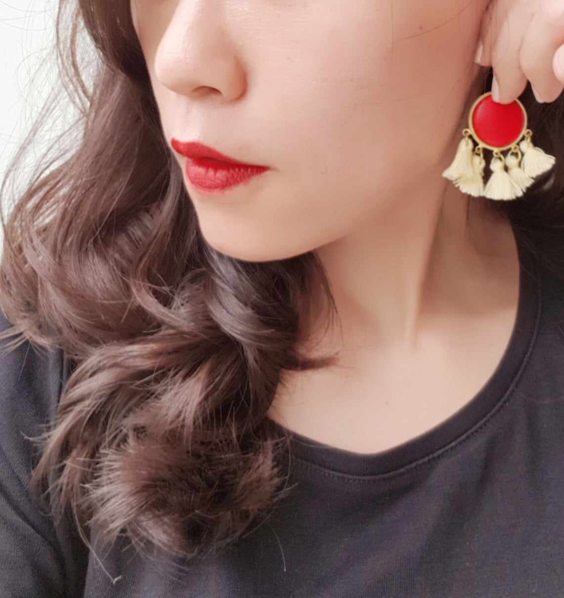 Glam Red Tassels Earrings